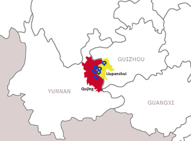 Eleven More Deaths Blight Chinas Deadliest Coal Mining District - Qujing map